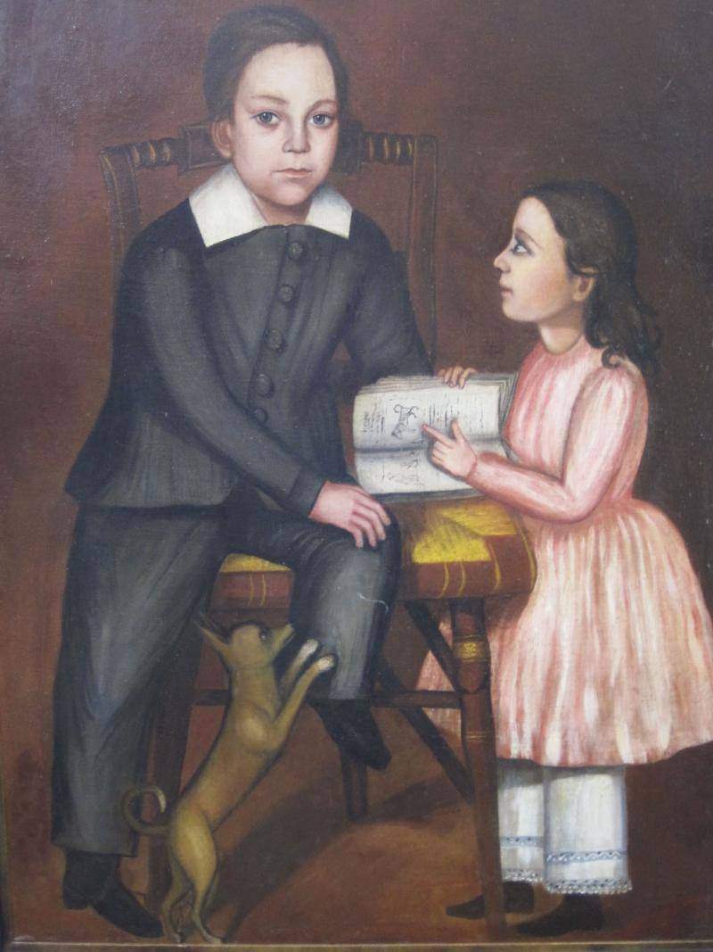 Folk Art Portrait of Children and Dog