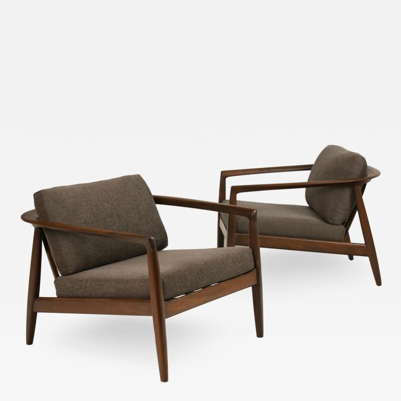 Folke Ohlsson Curvaceous Pair of Scandinavian Modern Armchairs Designed by Folke Ohlsson
