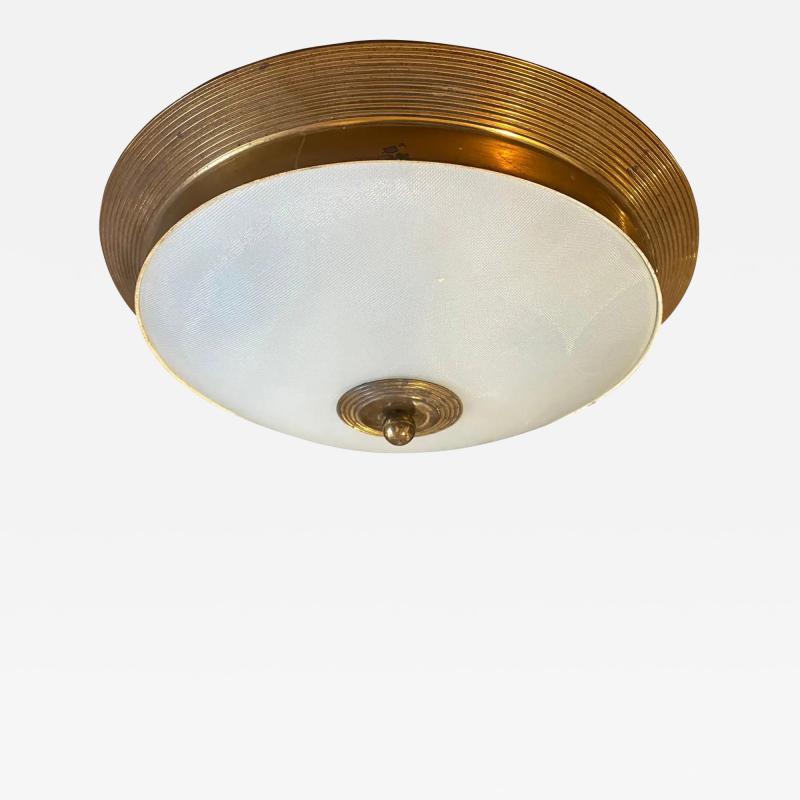Fontana Arte 1950s Fontana Arte Attributed Brass and Glass Round Ceiling Light