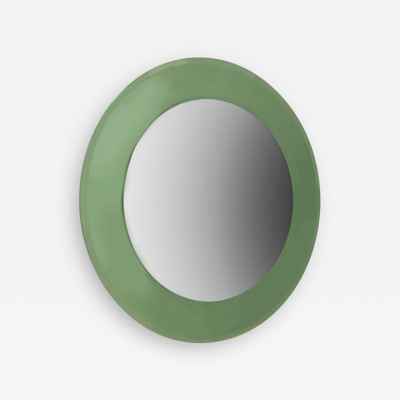 Fontana Arte 2 Italian 1940s Tinted Light Green Glass Framed Round Wall Mirrors