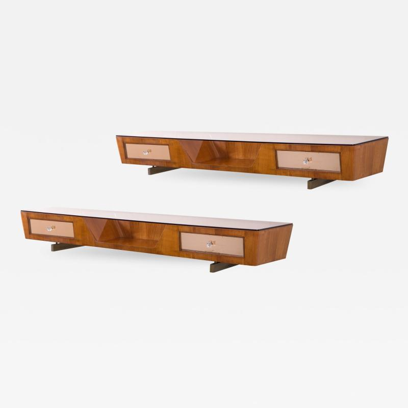 Fontana Arte A Pair of Italian Cherry Wood and Rosambrato Glass Console Tables