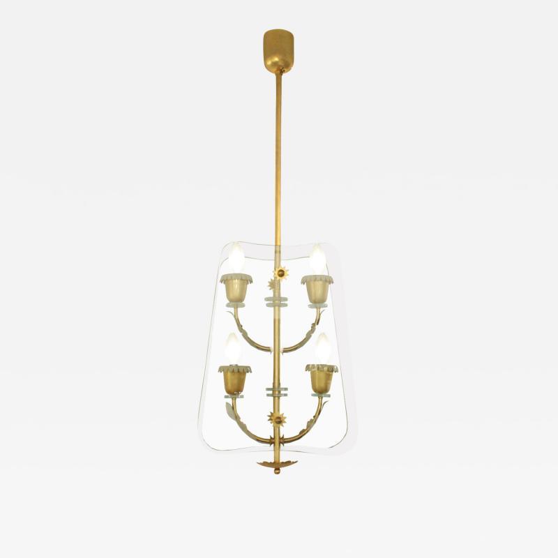 Fontana Arte Fontana Arte 4 Light Pendant Brass Chandelier 1940s