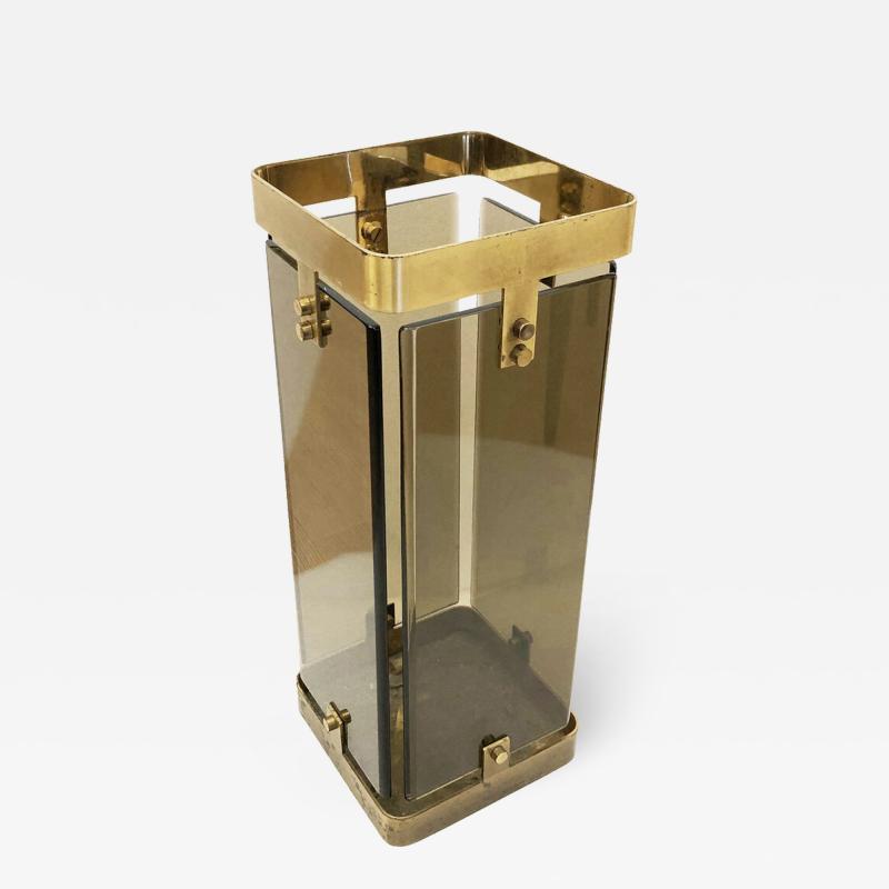 Fontana Arte Rectangular Fontana Arte Umbrella Stand with Smoked Glass