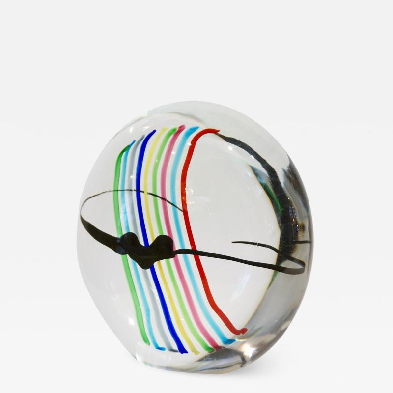Formia Murano Formia 1970s Italian Yellow Red Blue Crystal Murano Glass Modern Round Sculpture