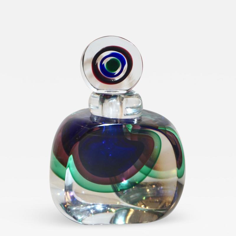 Formia Murano Formia 1990s Modern Italian Organic Blue Green Purple Murano Glass Bottle