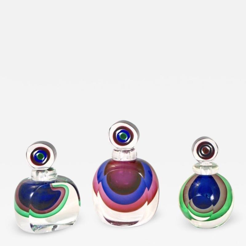 Formia Murano Formia 1990s Modern Italian Organic Green Blue Magenta Murano Glass Bottles