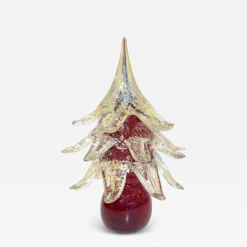 Formia Murano Formia Italian Vintage Wine Red and Gold Murano Glass Christmas Tree Sculpture