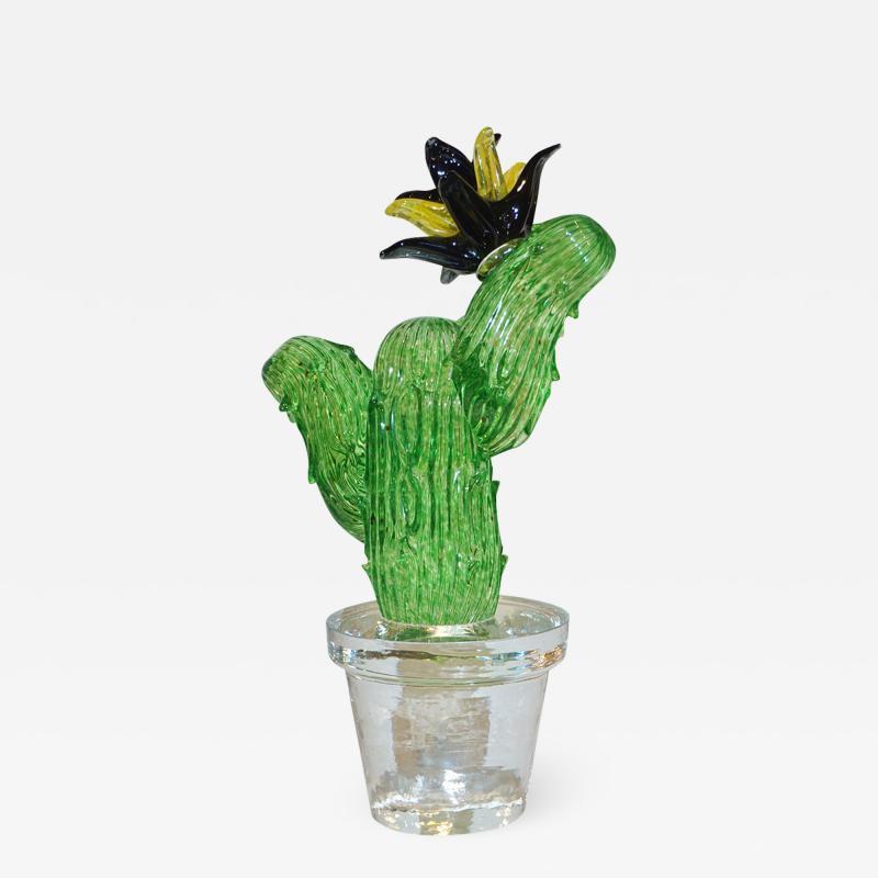 Formia Murano Formia Marta Marzotto Vintage Murano Glass Black Flower Cactus