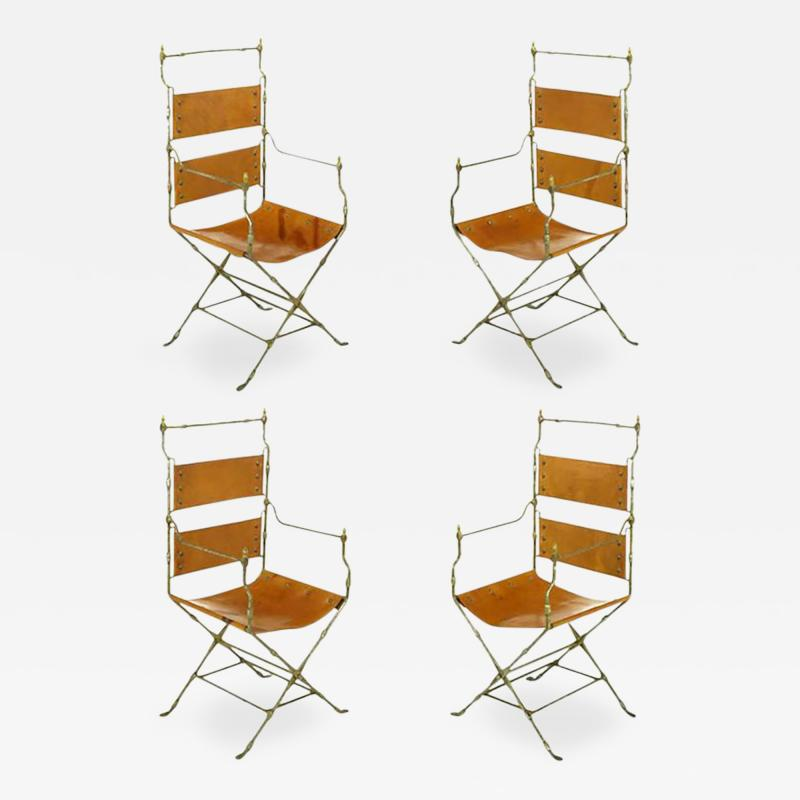 Four Custom Leather and Hand Forged Iron X Base Sling Chairs