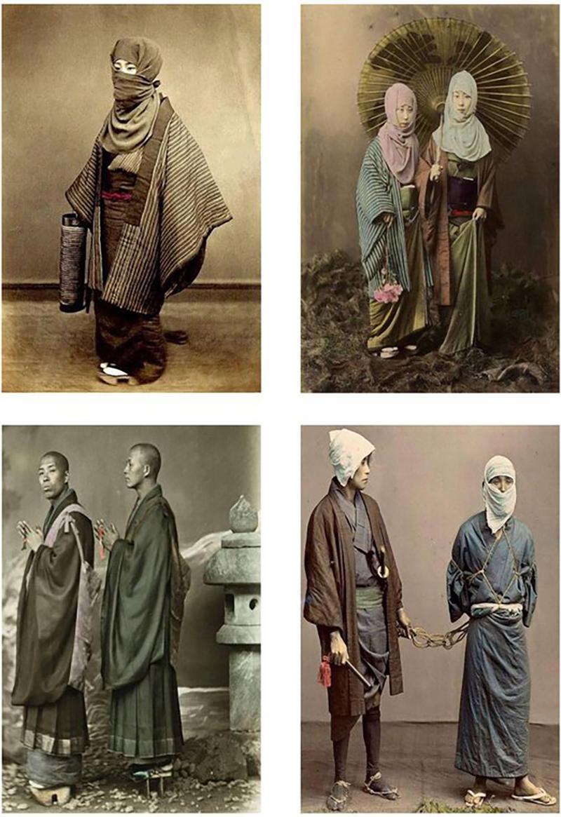 Four Felice Beato Hand Painted Japanese Photographic Studio Prints circa 1860s