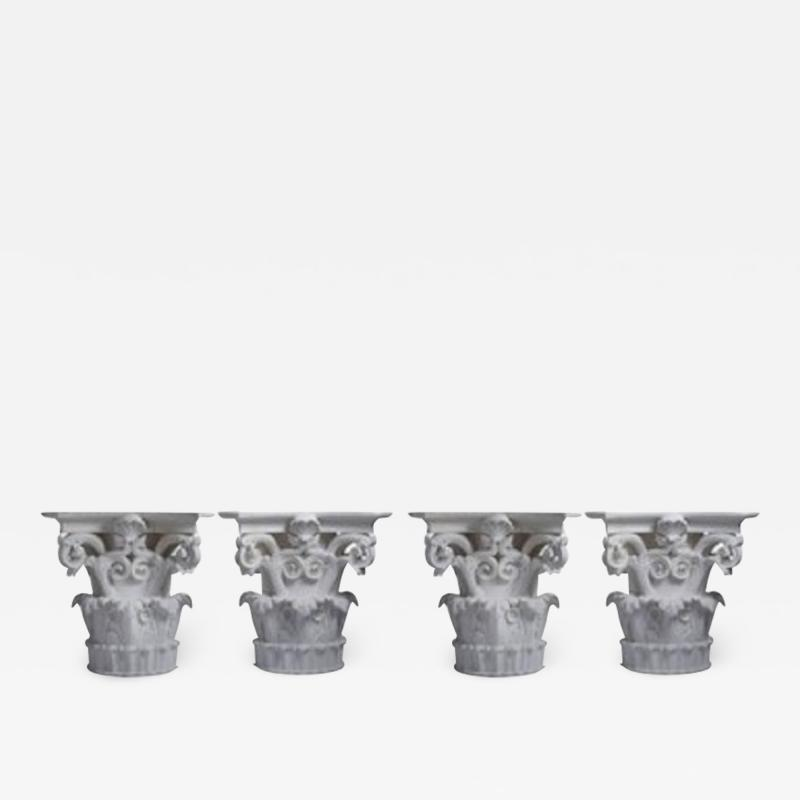 Four large Corinthian half capitals in plaster France circa 1930