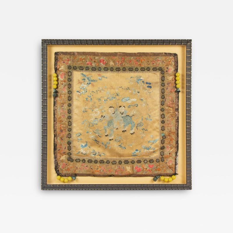 Framed Chinese Antique Silk Embroidery Cushion Cover with Beads