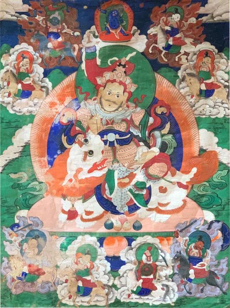 Framed Tibetan Thangka Vaisravana Jambhala