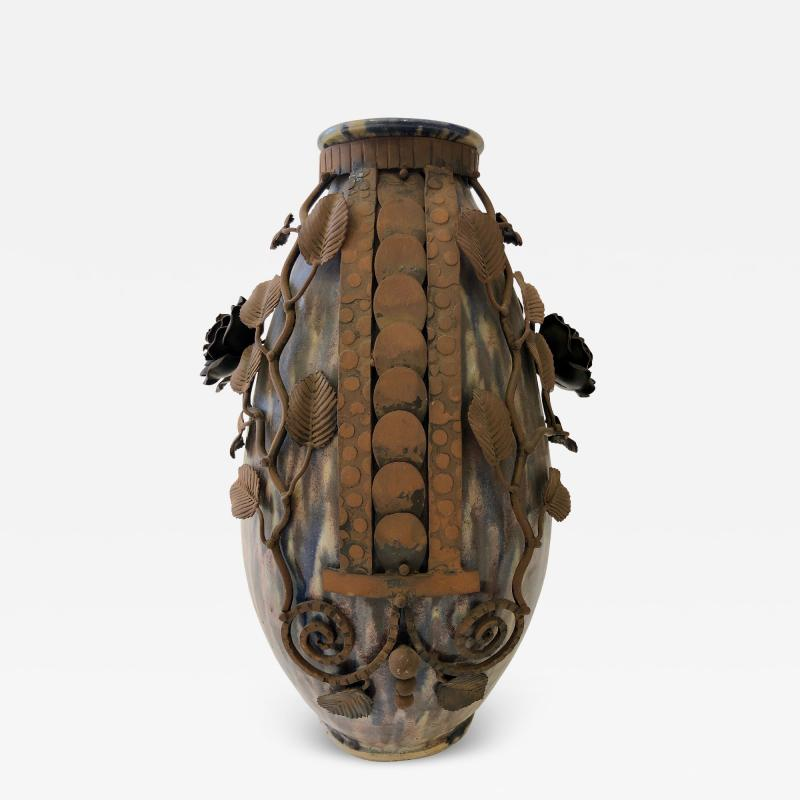 Fran ois Carion Monumental Roger Guerin Vase with Fran ois Carion Ironwork