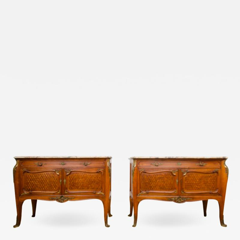 Fran ois Linke A pair of French Louis XV style signed F Linke marble top commodes