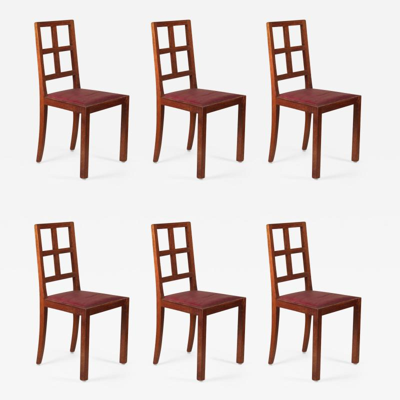 Francis Jourdain Francis Jourdain Set of Six Dining Chairs in Rosewood and Mahogany