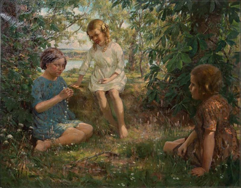 Francis Patrick Martin Vintage Oil Painting of 3 Girls Stringing Flowers Francis Martin