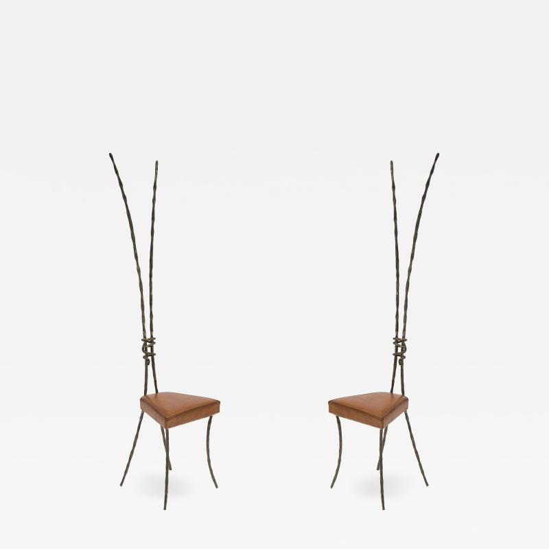 Franck Evennou Pair of Bronze Chairs attributed to Franck Evennou