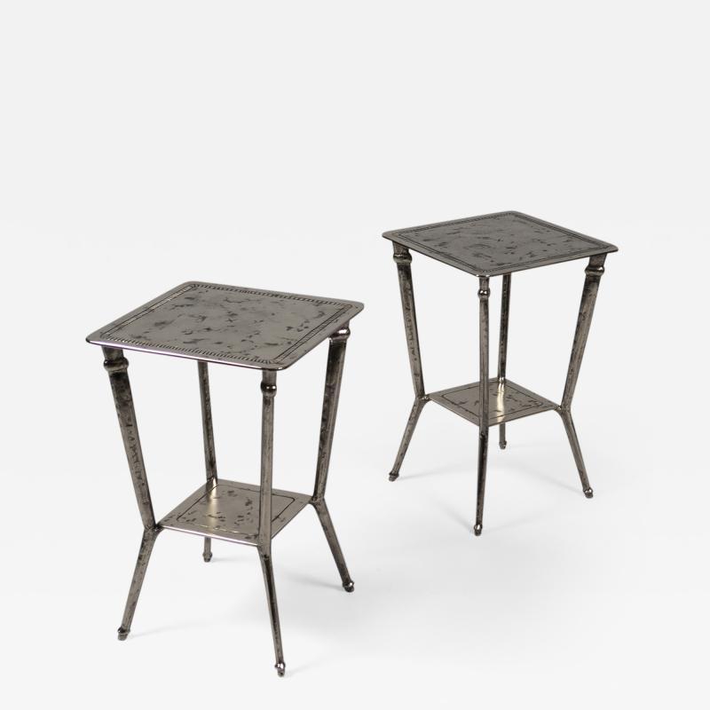 Franck Evennou Pair of Nickeled Bronze Side Tables by Franck Evennou France 2019