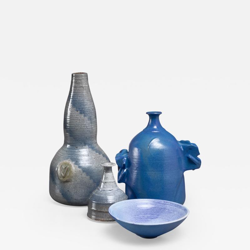 Franco Agnese Franco Agnese set of four blue and grey ceramic pieces France 1960s