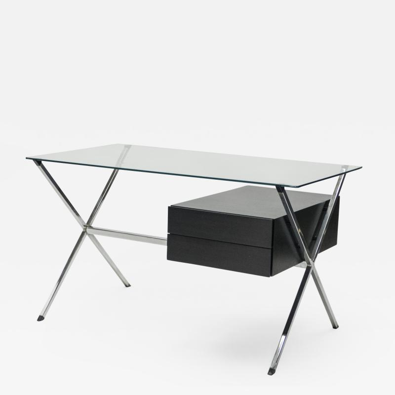 Franco Albini Franco Albini glass wood chrome desk for Knoll International 1950