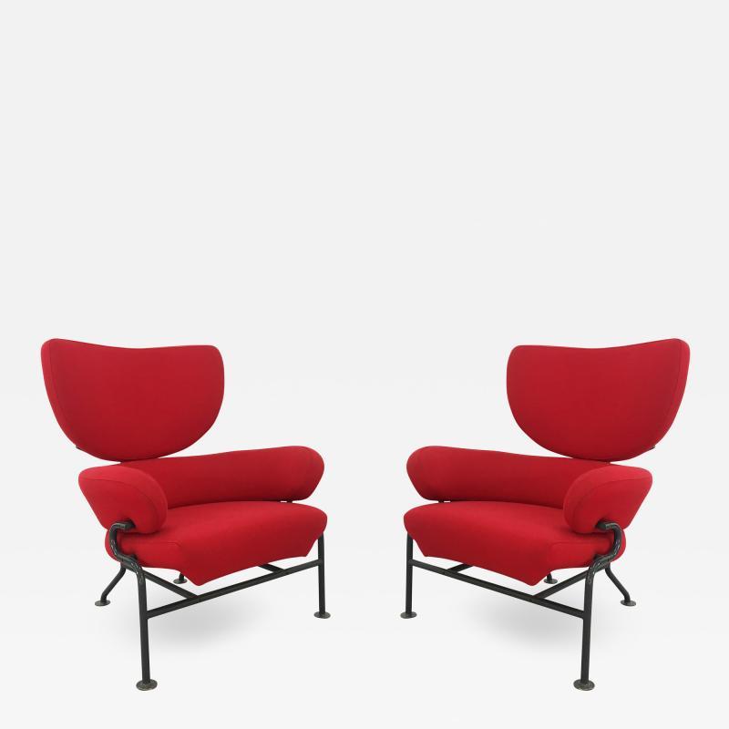 Franco Albini Pair of armchairs by Franco Albini Mod Tre pezzi PL19 for Poggi