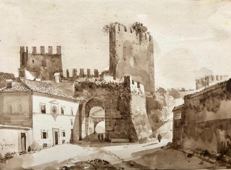 Francois Marius Granet View of Porta San Paolo Rome