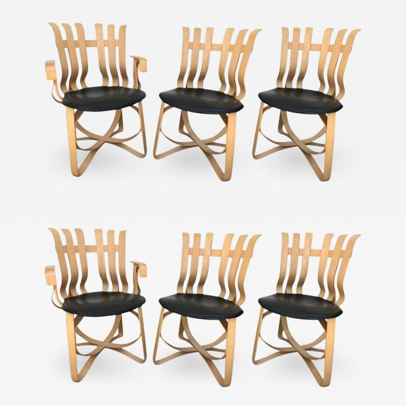 Frank Gehry Set of Four Dining and Two Captain Hat Trick Chairs by Frank Gehry for Knoll
