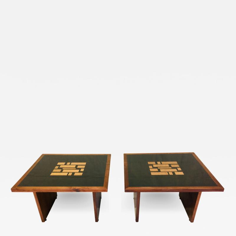 Frank Rohloff Pair of Frank Rohloff Walnut and Black Resin Mosaic End Tables California Studio