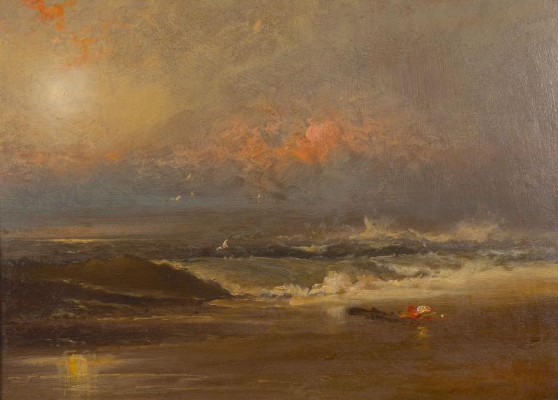 Franklin Dullin Briscoe Oil on academy board seascape
