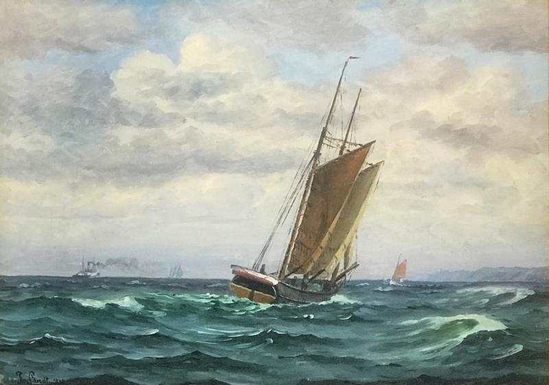 Frants Landt Frants Landt 1885 1975 Fishing Boat Near Coast 1944