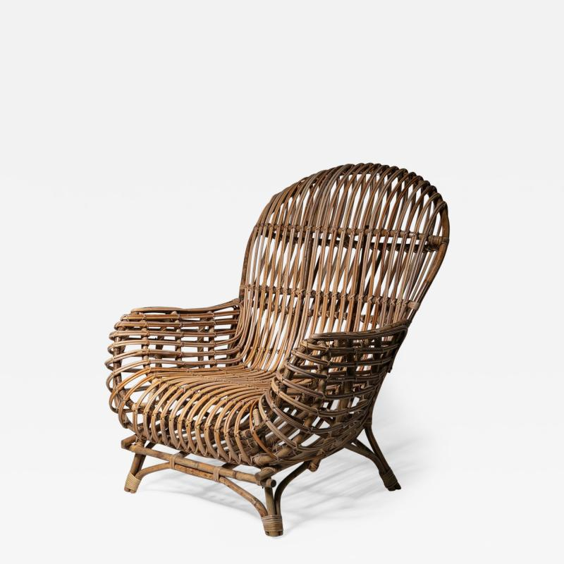 Fratelli Castano Large Wicker Lounge Chair Attributed to Castano