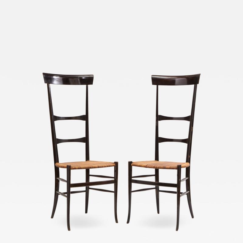 Fratelli Levaggi Rare Pair of Wing Back Chiavarine Super Leggera Chairs Italy 1950s