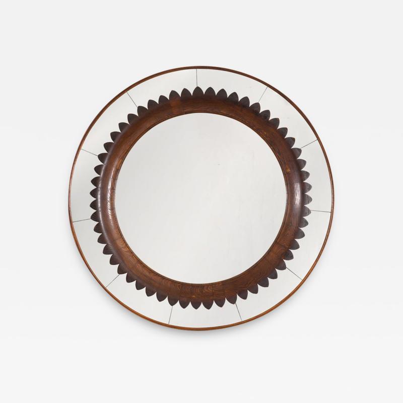 Fratelli Marelli Circular Carved Walnut Wall Mirror by Fratelli Marelli for Framar Italy 1950s