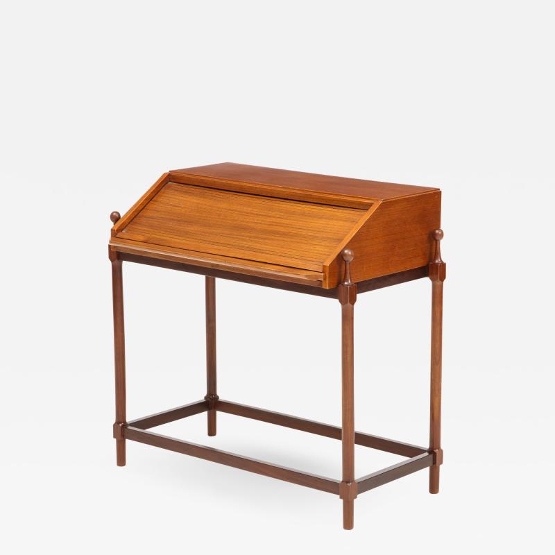 Fratelli Proserpio Compact teak secretary desk with rolltop by Fratelli Proserpio Italy 1960s