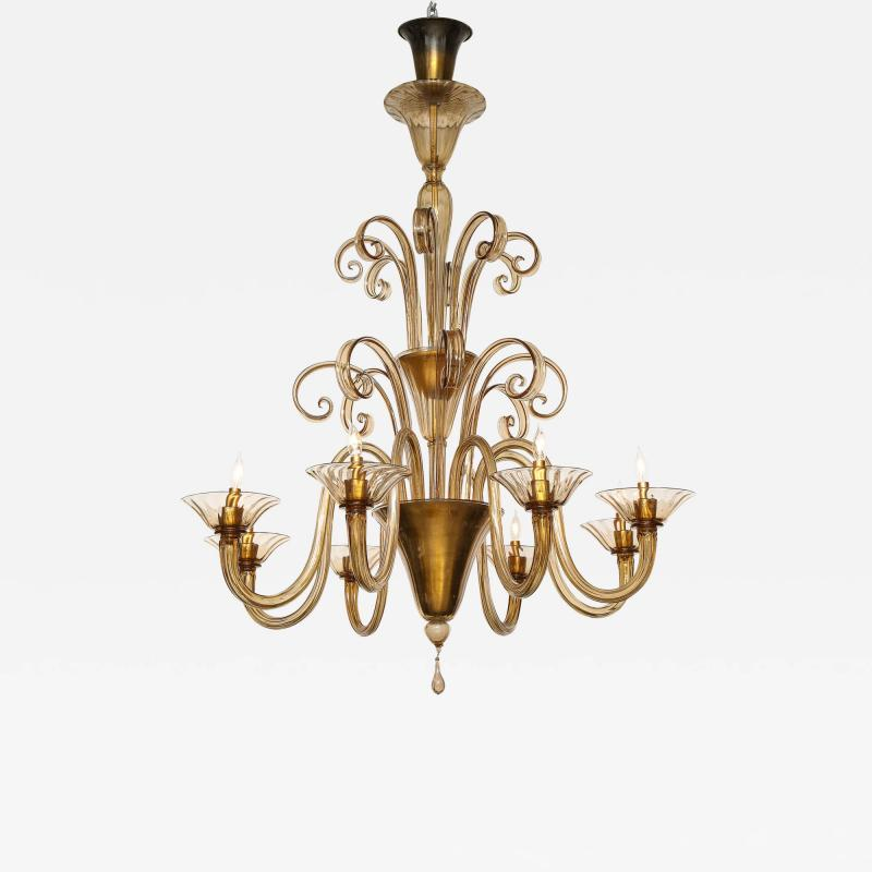 Fratelli Toso A Large Hand Bown Amber Glass Chandelier Attributed to Fratelli Toso