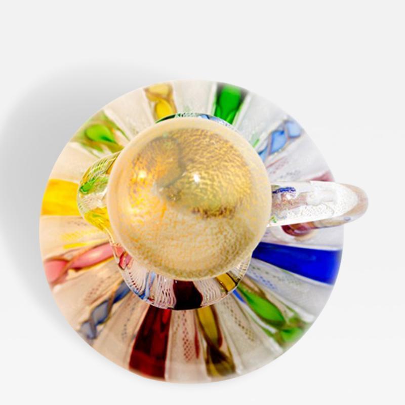 Fratelli Toso Vintage Fratelli Toso Murano Satin Glass Cruet with a Stopper and Latticino