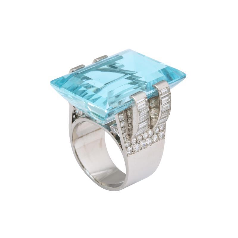 Frech Aquamarine Diamond Ring