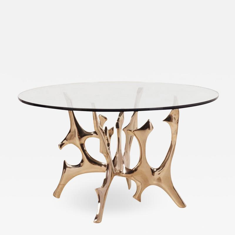 Fred Brouard Aquarius III table base in polished bronze with glass top Fred Brouard