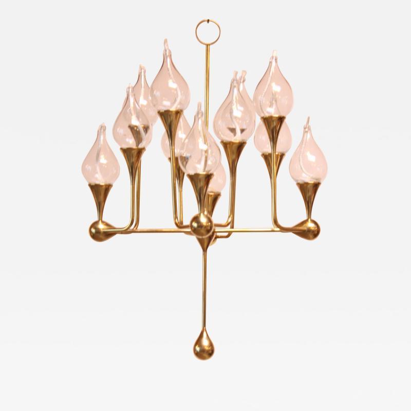 Freddie Anderson West German Brass and Glass Oil Lamp Candelabra by Freddie Andersen