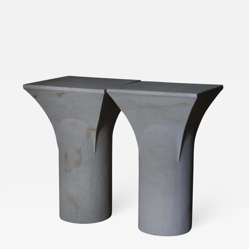 Frederic Saulou Pair of Ravissant Sireu Stone Side Tables by Frederic Saulou
