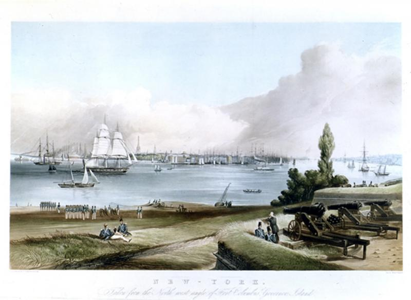 Frederick Catherwood NEW YORK taken from the north west angle of Fort Columbus Governors I