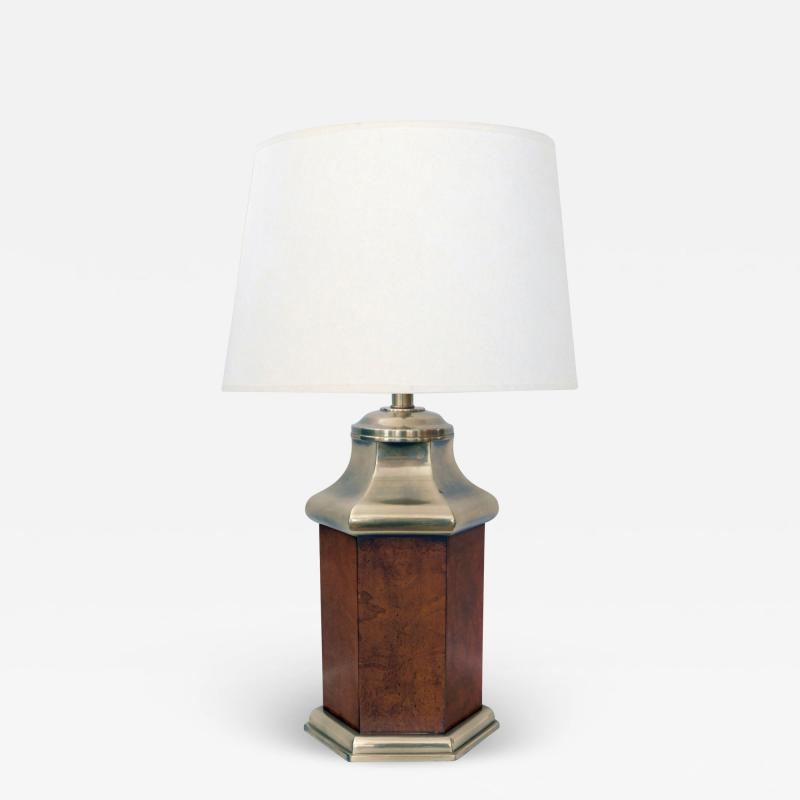Frederick Cooper Lamp Co Good Quality Frederick Cooper 1960s Octagonal Burlwood and Brass Lamp