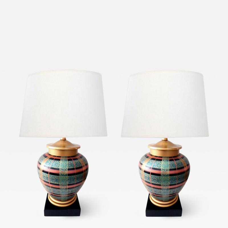 Frederick Cooper Lamp Co Pair of Frederick Cooper Ovoid form Lamps with Plaid Decoration