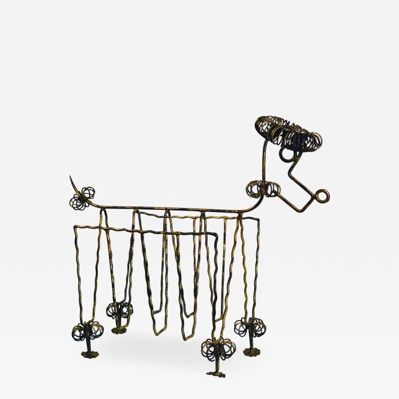Frederick Weinberg Mid Century Gilt Iron Poodle Magazine Rack in the Manner of Frederick Weinberg