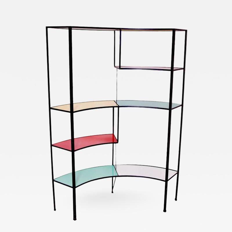 Frederick Weinberg Multicolored Vitrolite Glass Wrought Iron Shelf by Frederic Weinberg