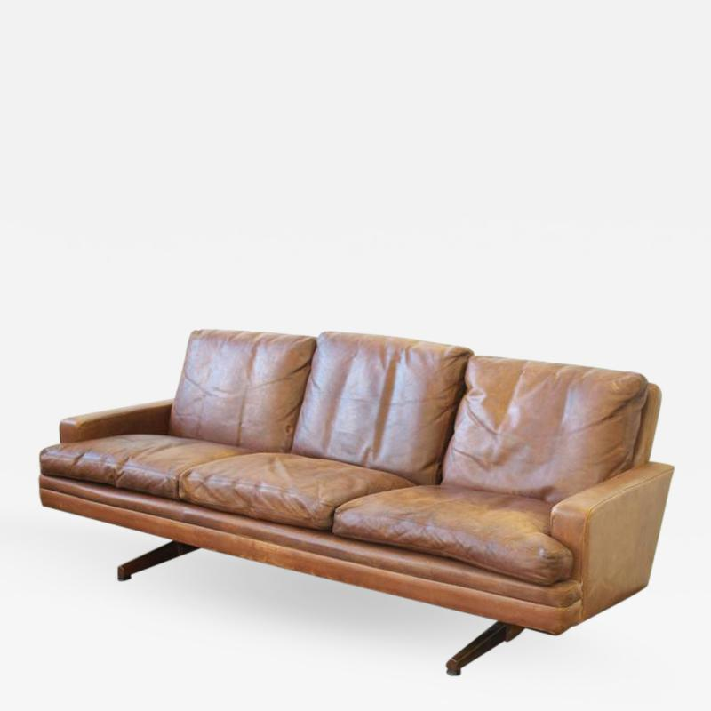 Fredrik A Kayser Fredrik Kayser Leather and Rosewood Sofa
