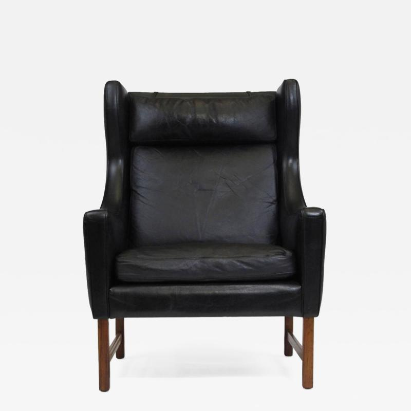 Fredrik Kayser Rosewood and Black Leather High Back Danish Lounge Chair