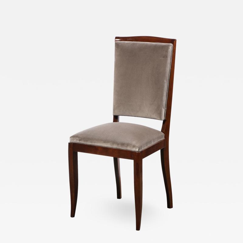 French 1940s Art Deco Walnut Side Chair in Dusk Holly Hunt Great Plains Velvet