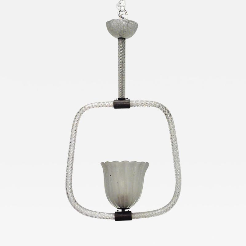 French 1940s Baccarat Crystal Swirl Design Lantern